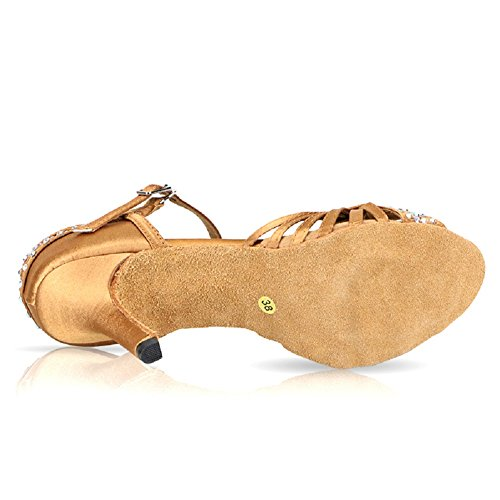 Dance Performance US7 Satin Rhinestone Shoes Bronce Latin Shoes Womens Ballroom DLisiting qZCEwE