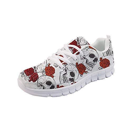 FOR U DESIGNS Breathable Running Shoes for Women Men Rose Skull Pattern Tennis Sport Flats Sneaker Size 38