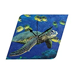 HangWang Wall Clock Sea Turtle Coloring Silent Non Ticking Decorative Diamond Digital Clocks for Home/Office/School Clock