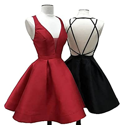 Uryouthstyle Deep V-neck Sexy Backless 2017 Mini Homecoming Dresses