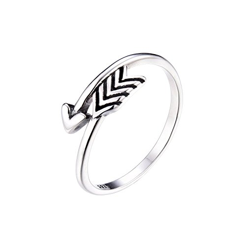 Cross Sterling Solid Silver Wave (Arrow Antique Ring Sterling Silver 925 Adjustable Open Band Vintage Rings for Women Girls Men)