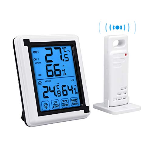 Auing Indoor Outdoor Thermometer Wireless Temperature and Humidity Monitor with