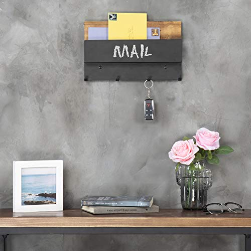 MyGift Rustic Wood & Black Metal Chalkboard Letter Holder with 4-Key Hooks by MyGift (Image #2)