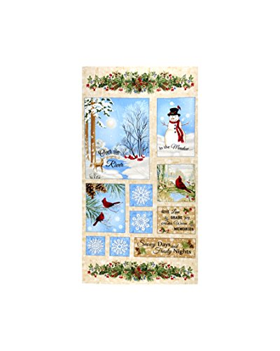 Timeless Treasures Memories 24in Winter Scenic Flannel Panel Beige Fabric