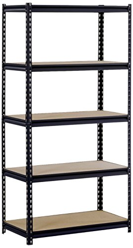 - Black Steel Heavy Duty 5-Shelf Shelving Unit, 4000lbs Capacity, 36