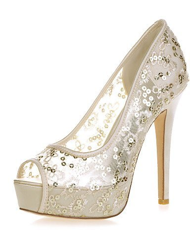 ShangYi Womens Shoes Stiletto Heel Peep Toe Sandals Wedding/Party & Evening Black/Blue/Pink/Red/Ivory/White/Gold Ivory