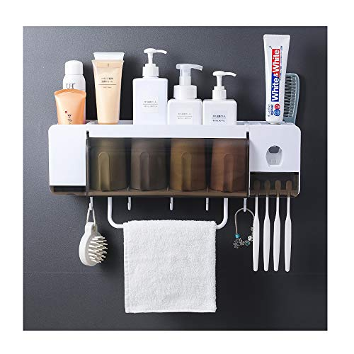 IKEAR Toothbrush Holder Bathroom Storage Organizer Rack with Hooks and Dustproof Cover Wall Mounted Space-Saving Cups and Toothpaste Squeezer Kit (Space Saving Cup Holder)