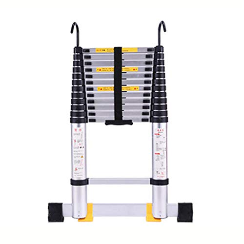 Telescopic Ladders 6.2M | 20ft Telescopic Aluminium Extension Ladder with Hook, Portable Extendable DIY Folding Straight Ladder for Home Loft Office Engineering Household