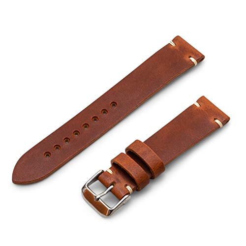 (Benchmark Basics 20mm English Tan Horween Dublin Vegetable Tanned Leather Minimalist Watchband | Handmade in Brooklyn)