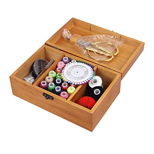 Foerteng Wooden Sewing Kit Set – Wood Basket Storage Organizer Box with Professional Hand Sew Supplies Thread Spools Pins Needles Scissors Set