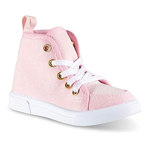 Chillipop Fashion High-Top Canvas Sneakers - for Girls Boys Youth, Toddlers & Kids Light Pink