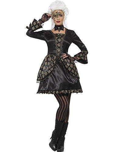 Smiffy's Women's Deluxe Masquerade Costume, Black/Gold, (Masquerade Costume Store)