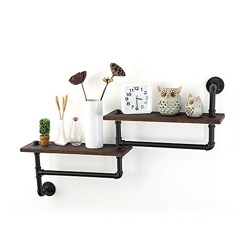 ZR- Solid Wood Wall Hanging \ Retro Laminate \ Iron Partition \ Rack \ Shelf \ Bathroom Towel Rack (Size : B) - Laminate Rack