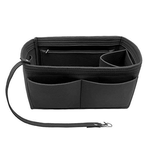 (Purse Organizer Insert, Felt Purse Handbag Insert Organizer With Keychain Multi Pocket 9001 Black Large)