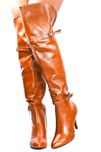 Forever Link SIDE BUCKLE ACCENTS HIGH HEEL BOOTS Tan F35 zoFDeGG