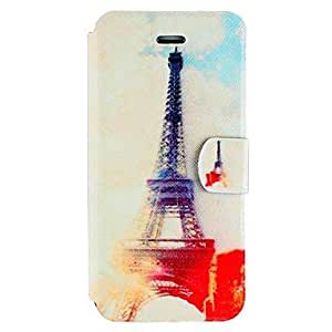 Eiffel Tower Pattern Clamshell PU Leather Full Body Case with Card Slot for iPhone5/5S