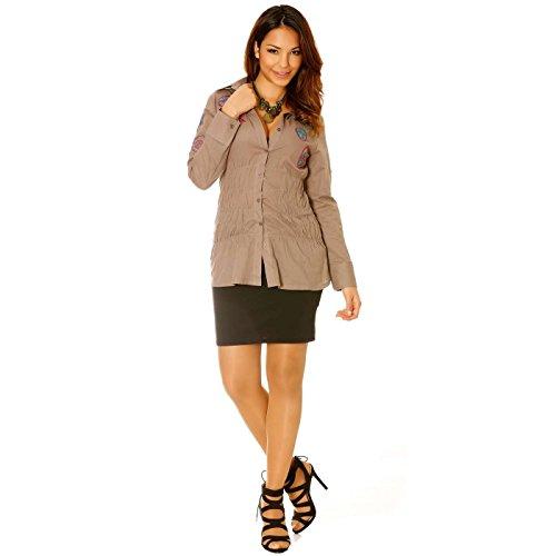 Miss Wear Line - Chemise en coton taupe avec broderie et élastique sur les cotés chemise
