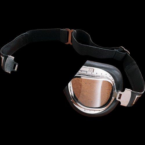 Emgo Roadhawk Leather One-Piece Anti-Fog Lens Goggles (Chrome Finish)