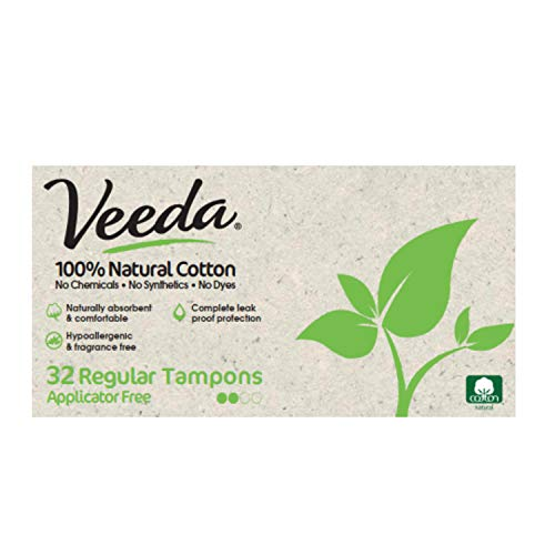 Veeda Natural All-Cotton Tampons, Regular, Non-Applicator, 32 Count