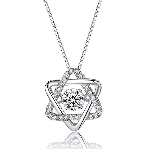 - MMTTAO 925 Sterling Silver Pendant Necklace for Women Girls CZ Diamond Cubic Zirconia from Swarovski Triangle Charms Pendant Dancing Crystals Jewelry Gifts for Her, Triangle Pendant Dancing Stone