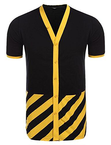 ll Button Down Hipster Hip Hop Longline Fashion Jersey Shirts (Yellow Baseball Jersey)