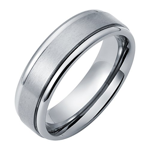 Boston Bay Diamonds 7MM Comfort Fit Titanium Ring Wedding Band with Double Channel Accent