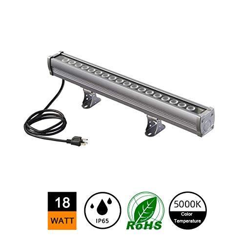 H-TEK 18W LED Wall Washer Light, Linear LED Bar Light 120V, IP65 Waterproof LED Strip Lights, 1.6ft/20 inches, Hotels, Villa, Resort, Landmark Advertisement Billboard Lighting (Bright White 5000K)