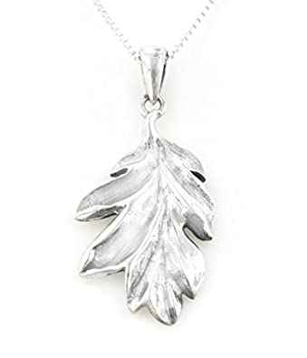 Amazon secrets of the wood sterling silver oak leaf pendant secrets of the wood sterling silver oak leaf pendant with 18quot box chain necklace aloadofball Image collections