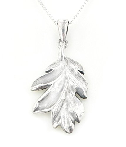 Wood And Sterling Silver Jewelry Box (Secrets of the Wood Sterling Silver Oak Leaf Pendant with 18