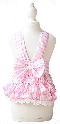 MaruPet Summer Sweet Puppy Doggie Striped Printed Princess Skirt Pet Dog Lace Cake Camisole Tutu Dress with Bowknit Pink (Sexy Costumes Online)