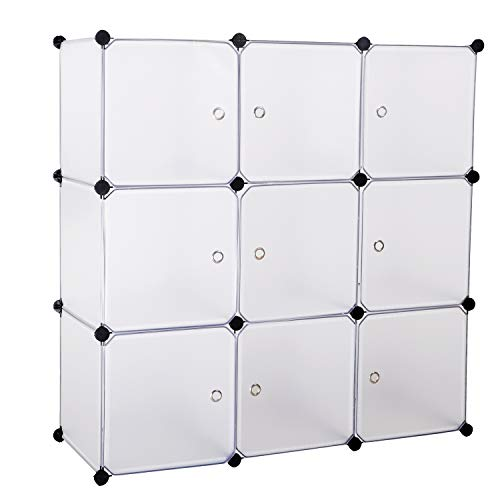BASTUO 9-Cubes DIY Storage Cabinet Bookcase Office Shelf Baskets Modular Cubes,Closet for Toys.Books,Clothes,White with Doors (Cube Baskets With Bookcase)
