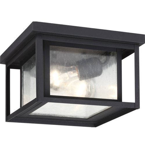 Aluminum Outdoor Ceiling Fixture - Sea Gull Lighting 78027-12 Hunnington Outdoor Fixture, Two-Light, Black Finish