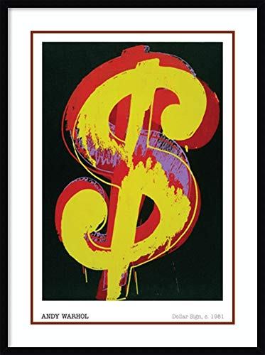 (Framed Art Print 'Dollar Sign, 1981' by Andy Warhol: Outer Size 30 x 40