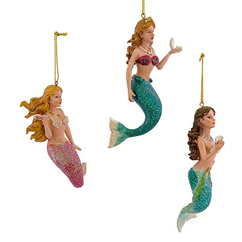 Kurt Adler 4-1/2-Inch Resin Mermaid Ornament, Set of 3