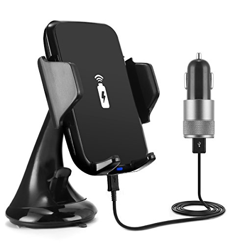 Wireless Car Fast Charger Phone Holder Dashboard Suction Mount QI Wireless Car Charging Pad For Iphone X Iphone 8 Plus GPS Navigation,Samsung Galaxy S8, S8 Plus, S8 Note, (72 Dash Pad)