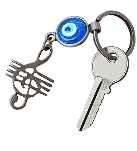 Silver Plated Good Luck Evil Eye Keychain Key rings Greek - Jewish - Christian (Treble Clef) - Eye Good Luck Charm Keychain