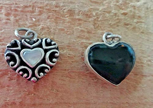 Fine Charms 1 Sterling Silver 17x16mm Reversible White Mother of Pearl & Onyx Heart