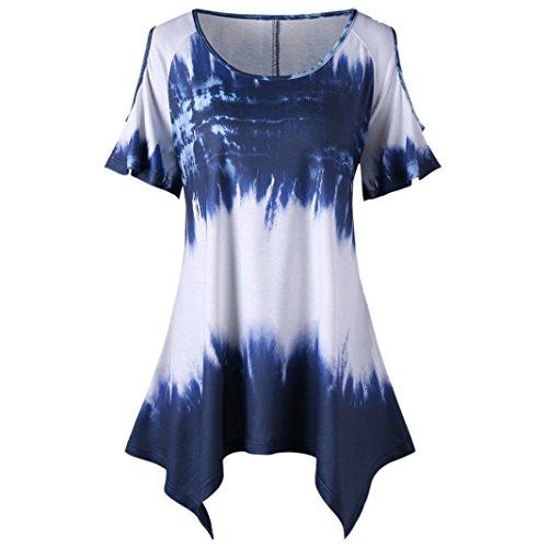 FEITONG Fashion Womens Plus Size Gradient O-Neck Short Sleeve Open Shoulder T-Shirt ()