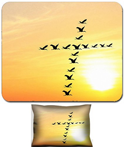 Liili Mouse Wrist Rest and Small Mousepad Set, 2pc Wrist Support Beautiful heavenly sky in the evening with birds forming holy cross shape Photo (Forming Cross Pattern)