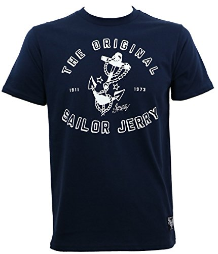 [Sailor Jerry Mens Original Anchor Logo Slim Fit T-Shirt Navy Blue L] (Sailor Jerry Anchor)