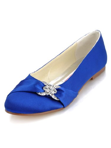 ElegantPark EP2006 Women Closed Rhinestones Comfort Flats Pleated Satin Wedding Bridal Shoes Blue US 8 by ElegantPark