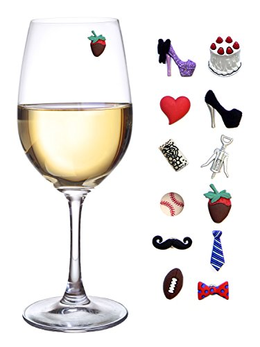 His and Hers Magnetic Wine Charms & Stemless Glass Markers - Set of 12 - Fun Birthday, Hostess or Housewarming Gift by Simply Charmed