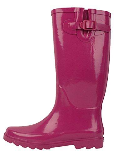Fuchsia Rubber Wellies - Sunville New Brand Women's Rubber Rain Boots,9 M US,Fuchsia
