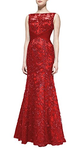 DAPENE Women Off Shoulder Mermaid Lace Long Formal Dress Custom Size Red