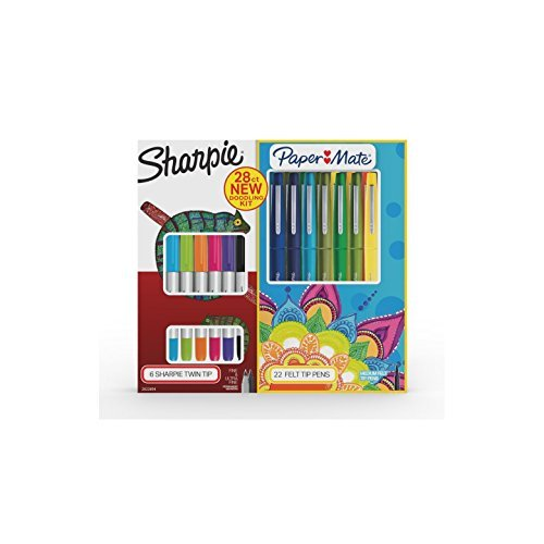 Sharpie Permanent Markers & Paper Mate Flair Box New Doodling Kit 28 (Papermate Sharpie)