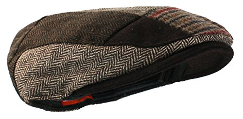 (Ted and Jack - Tweed Patchwork Newsboy Driving Cap With Quilted Lining in Brown-Large/X-Large)