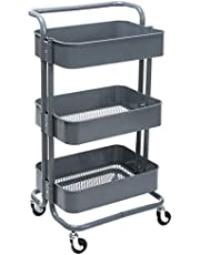 DOEWORKS 3-Tier Metal Utility Service Cart Rolling Storage Shelves with Handles, Storage Utility Cart