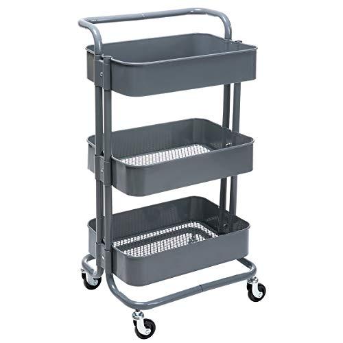 DOEWORKS Storage Cart 3 Tier Metal Utility Cart Rolling Organizer Cart with Wheels Art Cart Gray ()