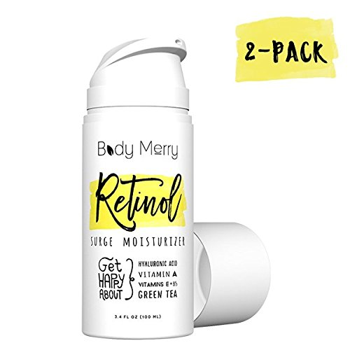 Body Merry Retinol Surge Moisturizer, 2-Pack: All in one anti aging / wrinkle & acne face cream w natural Hyaluronic Acid + Vitamins for day & night – Perfect for men & women for deep hydration & care Review