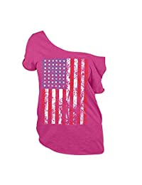 Large Size Independence Day American Flag Short Sleeve T-Shirt Women's Top